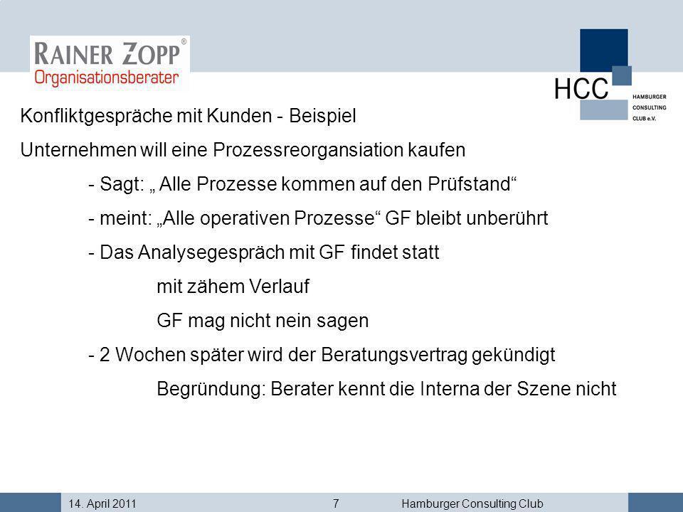 14. April 20117Hamburger Consulting Club Konfliktgespräche mit Kunden - Beispiel Unternehmen will eine Prozessreorgansiation kaufen - Sagt: Alle Proze