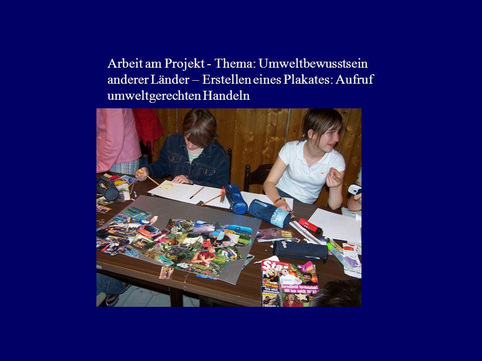 Arbeit am Projekt - Thema: Umweltbewusstsein anderer Länder – Erstellen eines Plakates: Aufruf umweltgerechten Handeln