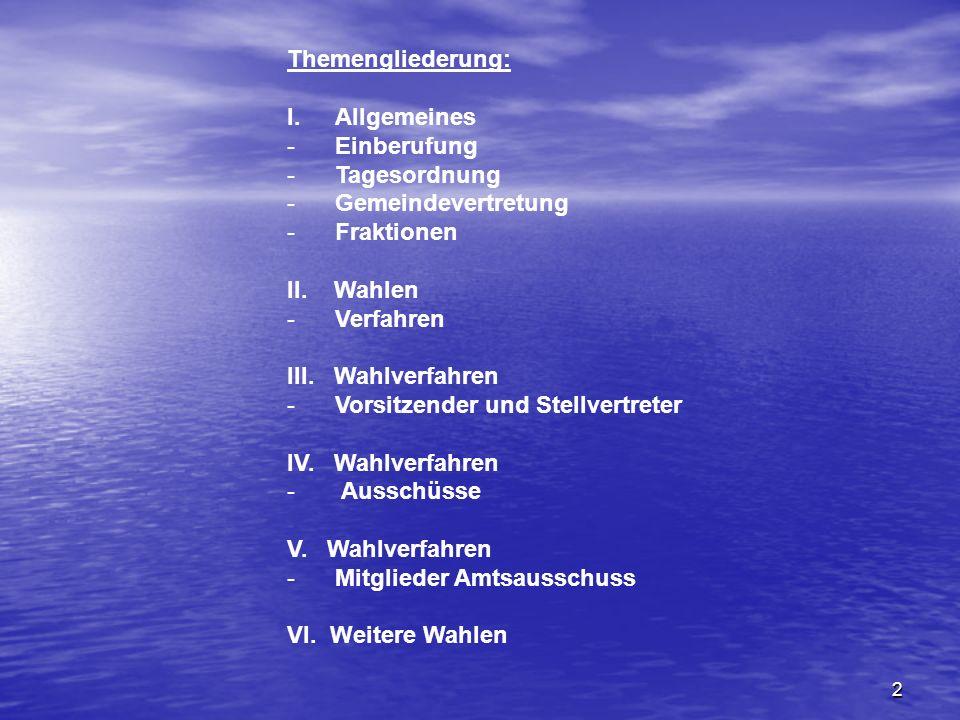 2 Themengliederung: I.Allgemeines -Einberufung -Tagesordnung -Gemeindevertretung -Fraktionen II.