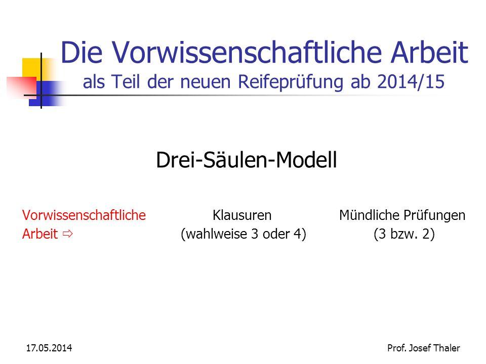 Die Vorwissenschaftliche Arbeit als Teil der neuen Reifeprüfung ab 2014/15 Drei-Säulen-Modell Vorwissenschaftliche Klausuren Mündliche Prüfungen Arbei