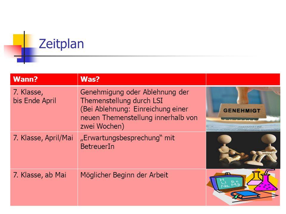 Zeitplan Wann?Was? 7. Klasse, bis Ende April Genehmigung oder Ablehnung der Themenstellung durch LSI (Bei Ablehnung: Einreichung einer neuen Themenste