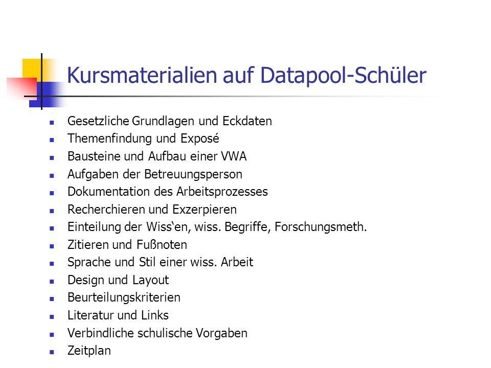 Kursmaterialien auf Datapool-Schüler Gesetzliche Grundlagen und Eckdaten Themenfindung und Exposé Bausteine und Aufbau einer VWA Aufgaben der Betreuun