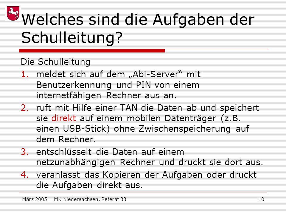März 2005 MK Niedersachsen, Referat 3310 Welches sind die Aufgaben der Schulleitung? Die Schulleitung 1.meldet sich auf dem Abi-Server mit Benutzerken