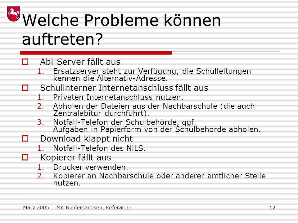 März 2005 MK Niedersachsen, Referat 3312 Welche Probleme können auftreten? Abi-Server fällt aus 1.Ersatzserver steht zur Verfügung, die Schulleitungen