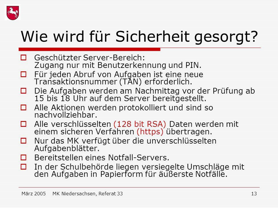 März 2005 MK Niedersachsen, Referat 3313 Wie wird für Sicherheit gesorgt? Geschützter Server-Bereich: Zugang nur mit Benutzerkennung und PIN. Für jede