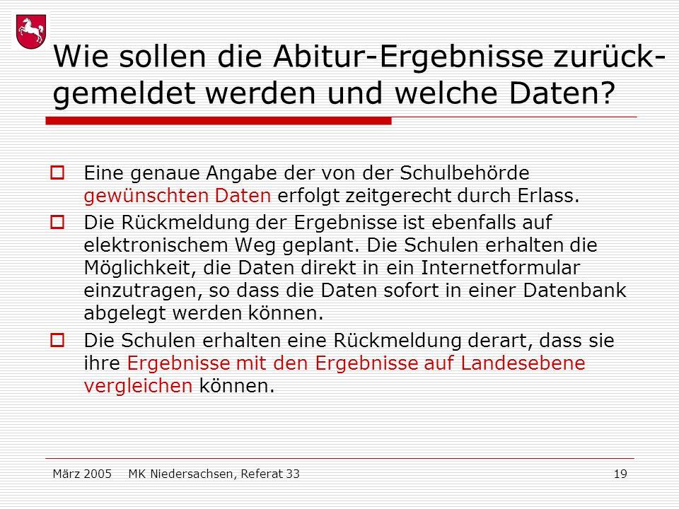 März 2005 MK Niedersachsen, Referat 3319 Wie sollen die Abitur-Ergebnisse zurück- gemeldet werden und welche Daten? Eine genaue Angabe der von der Sch