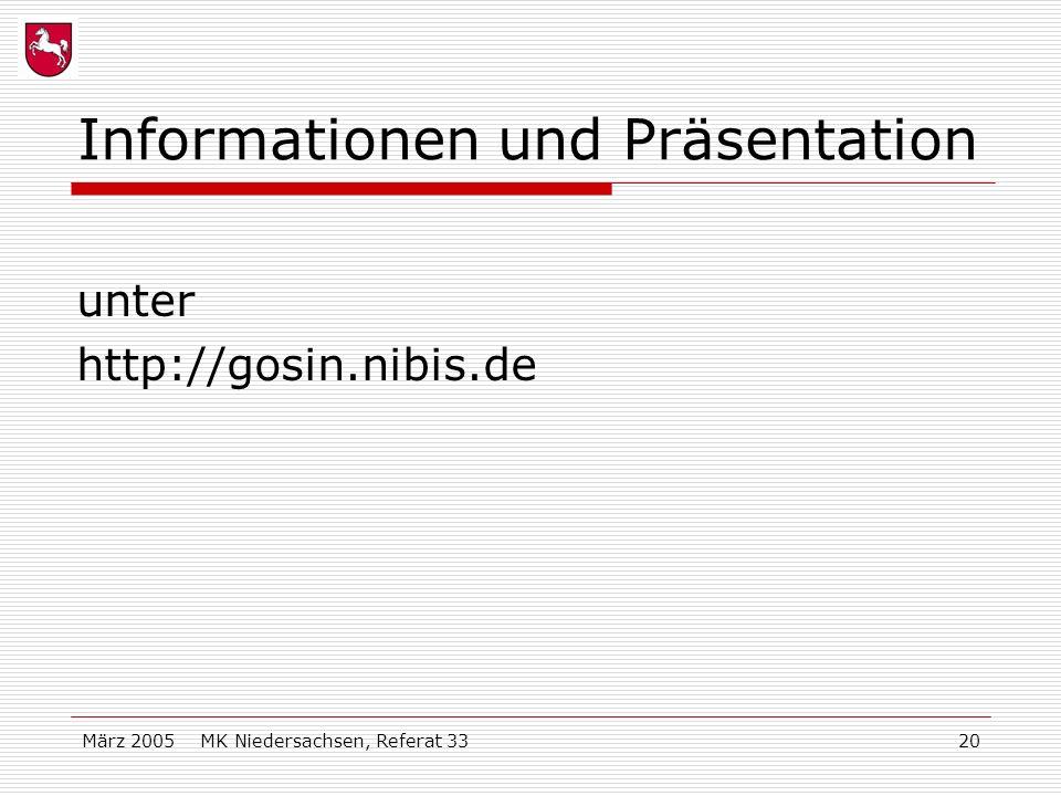 März 2005 MK Niedersachsen, Referat 3320 Informationen und Präsentation unter http://gosin.nibis.de