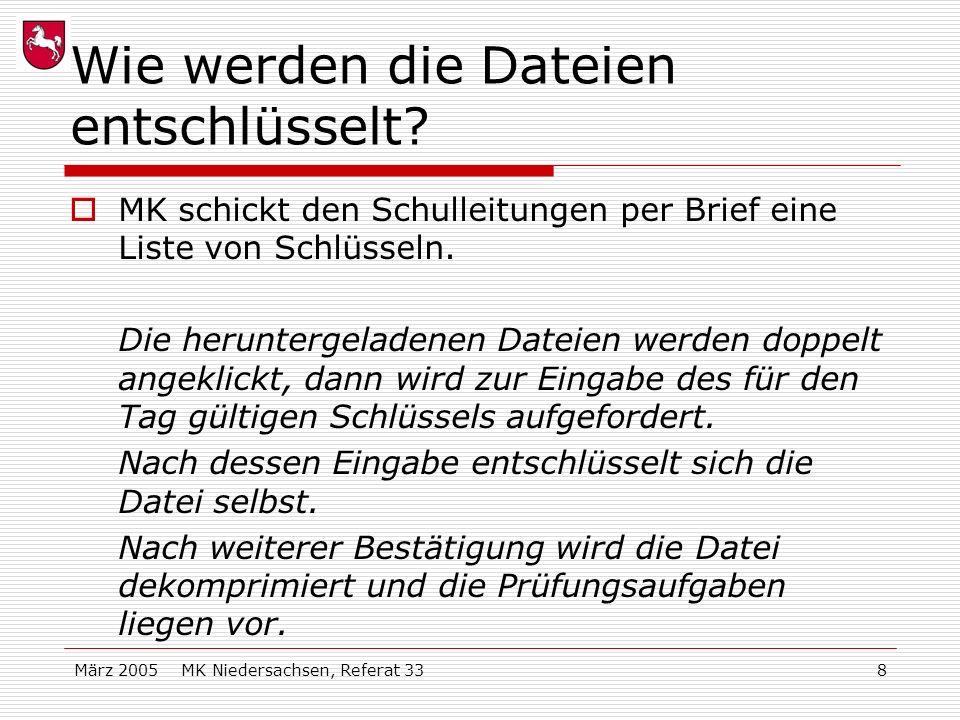 März 2005 MK Niedersachsen, Referat 338 Wie werden die Dateien entschlüsselt? MK schickt den Schulleitungen per Brief eine Liste von Schlüsseln. Die h