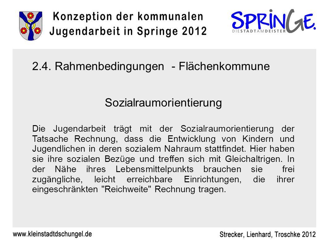 2.4. Rahmenbedingungen - Flächenkommune Sozialraumorientierung Die Jugendarbeit trägt mit der Sozialraumorientierung der Tatsache Rechnung, dass die E