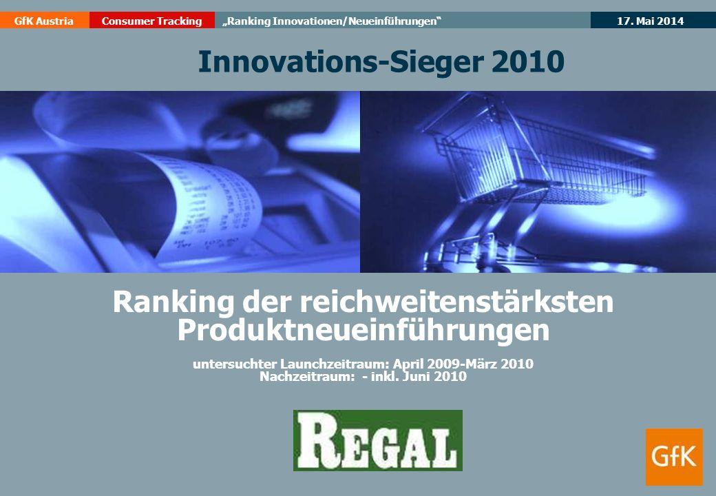 17. Mai 2014GfK AustriaConsumer TrackingRanking Innovationen/Neueinführungen Ranking der reichweitenstärksten Produktneueinführungen untersuchter Laun