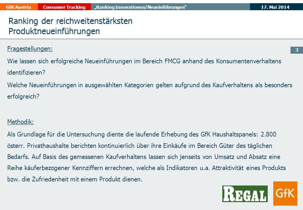 17. Mai 2014GfK AustriaConsumer TrackingRanking Innovationen/Neueinführungen 3 Ranking der reichweitenstärksten Produktneueinführungen Fragestellungen