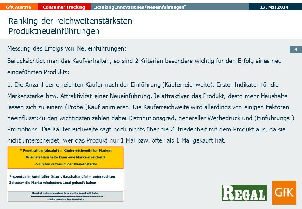 17. Mai 2014GfK AustriaConsumer TrackingRanking Innovationen/Neueinführungen 4 Messung des Erfolgs von Neueinführungen: Berücksichtigt man das Kaufver