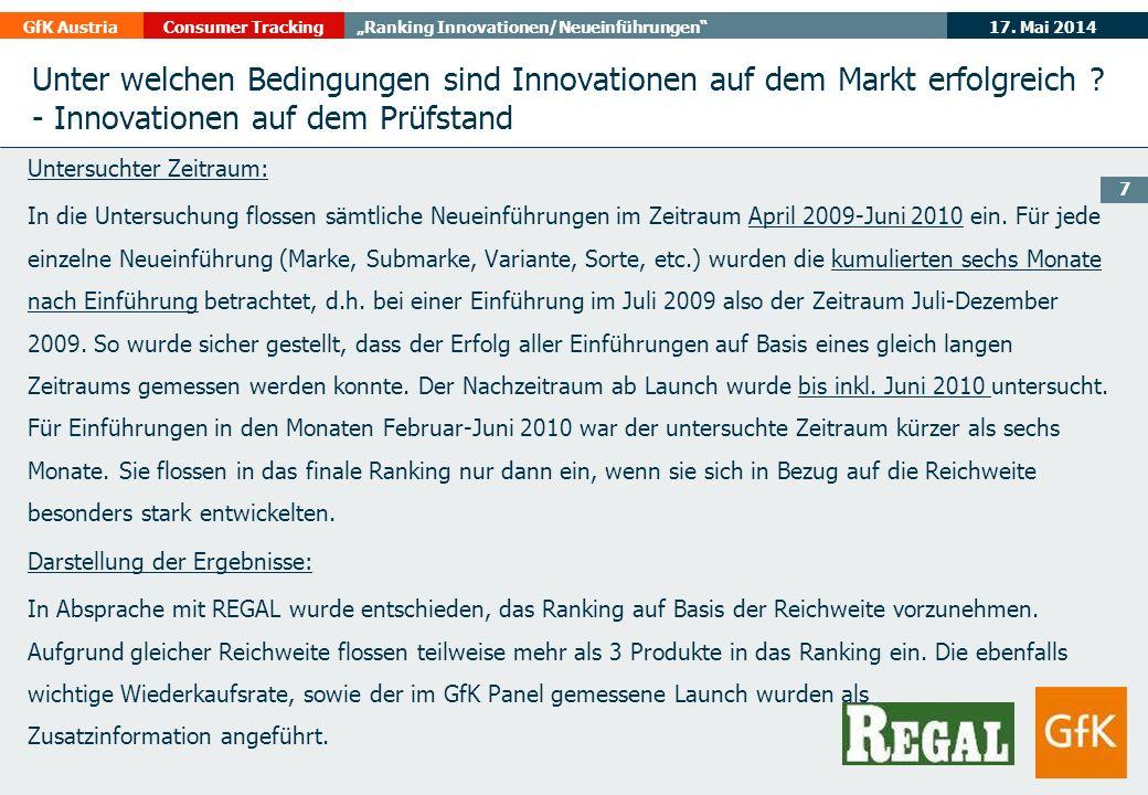 17. Mai 2014GfK AustriaConsumer TrackingRanking Innovationen/Neueinführungen 7 Unter welchen Bedingungen sind Innovationen auf dem Markt erfolgreich ?