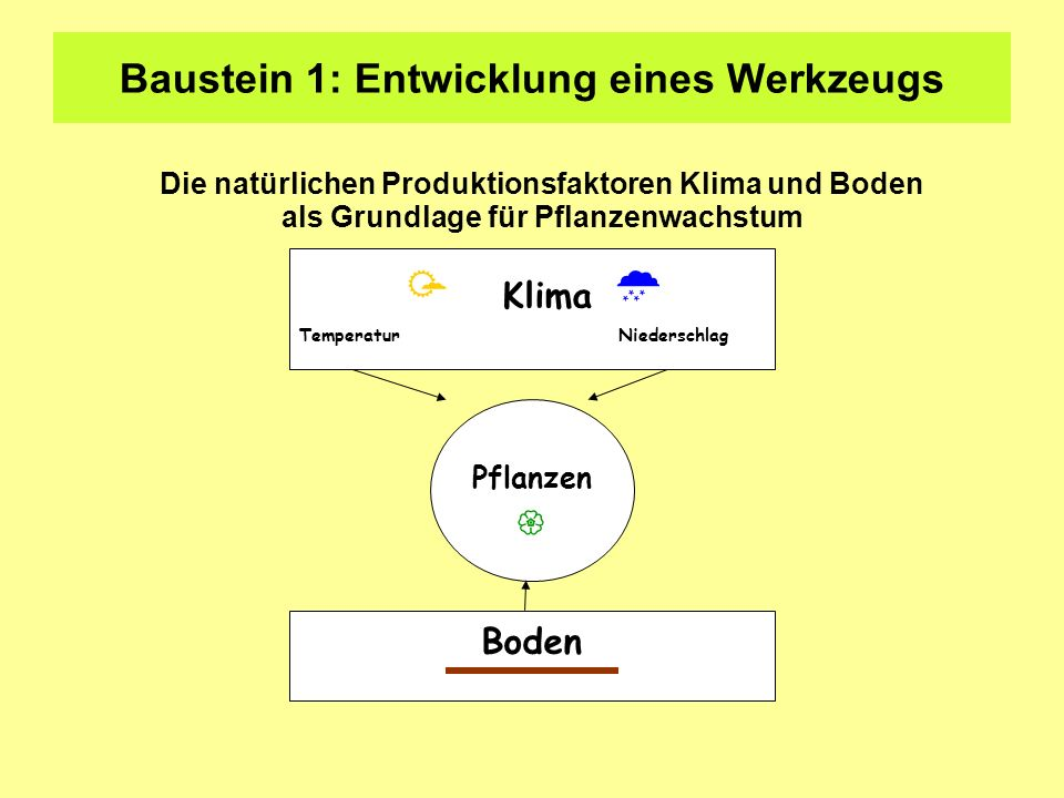 Baustein 1: Entwicklung eines Werkzeugs Pflanzen Klima Temperatur Niederschlag Boden Die natürlichen Produktionsfaktoren Klima und Boden als Grundlage