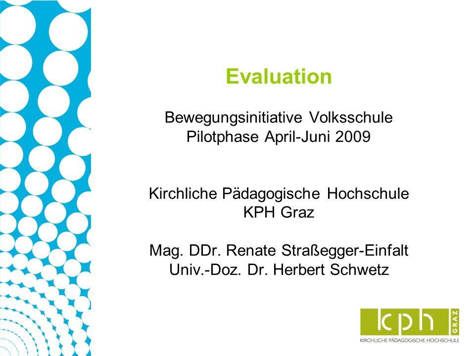 Evaluation Bewegungsinitiative Volksschule Pilotphase April-Juni 2009 Kirchliche Pädagogische Hochschule KPH Graz Mag. DDr. Renate Straßegger-Einfalt