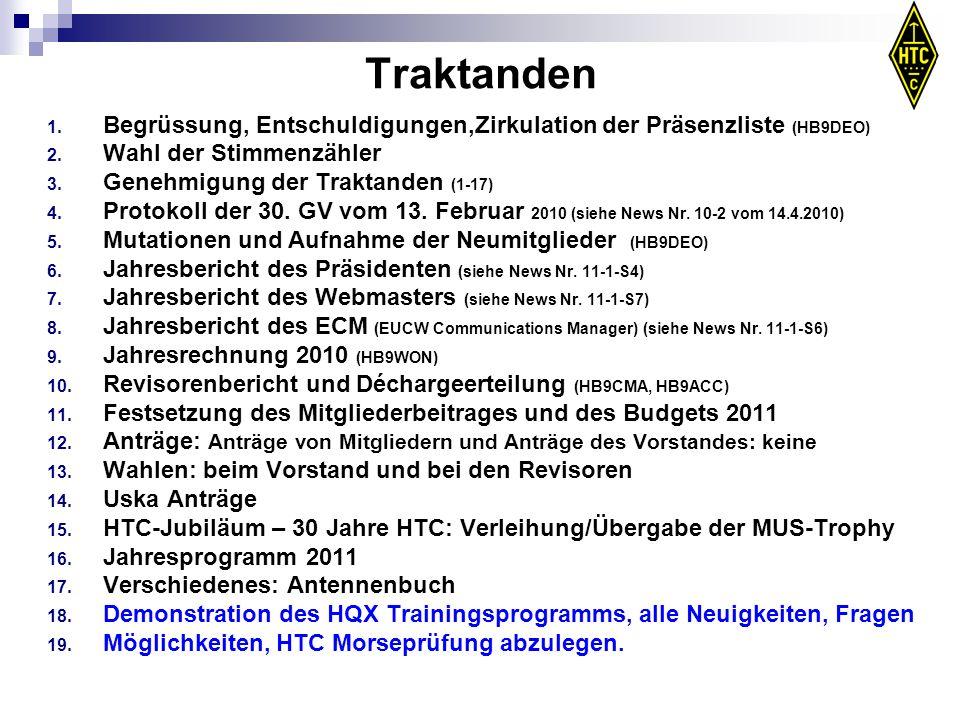 Traktanden 1. Begrüssung, Entschuldigungen,Zirkulation der Präsenzliste (HB9DEO) 2. Wahl der Stimmenzähler 3. Genehmigung der Traktanden (1-17) 4. Pro