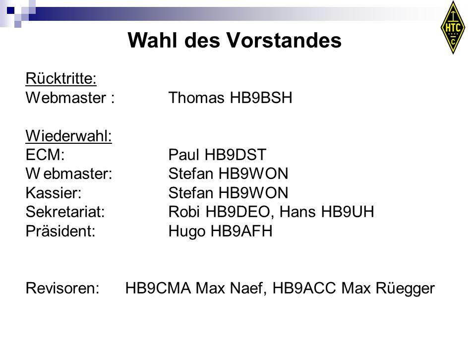 Wahl des Vorstandes Rücktritte: Webmaster :Thomas HB9BSH Wiederwahl: ECM: Paul HB9DST Webmaster: Stefan HB9WON Kassier:Stefan HB9WON Sekretariat: Robi