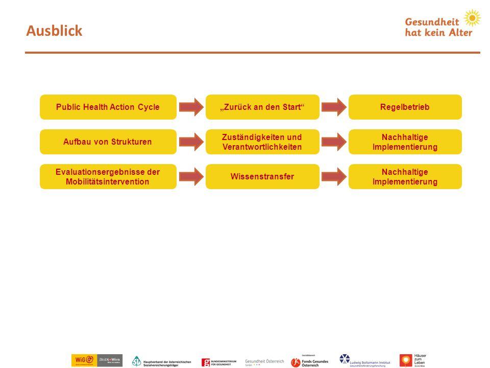 Ausblick Evaluationsergebnisse der Mobilitätsintervention Wissenstransfer Aufbau von Strukturen Zuständigkeiten und Verantwortlichkeiten Nachhaltige I