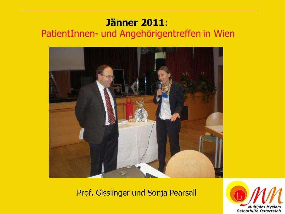 Prof. Gisslinger und Sonja Pearsall Jänner 2011: PatientInnen- und Angehörigentreffen in Wien