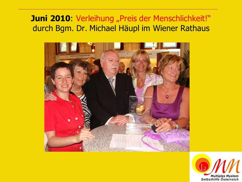 Juni 2010: Feier mit MitpatientInnen nach der Preisverleihung