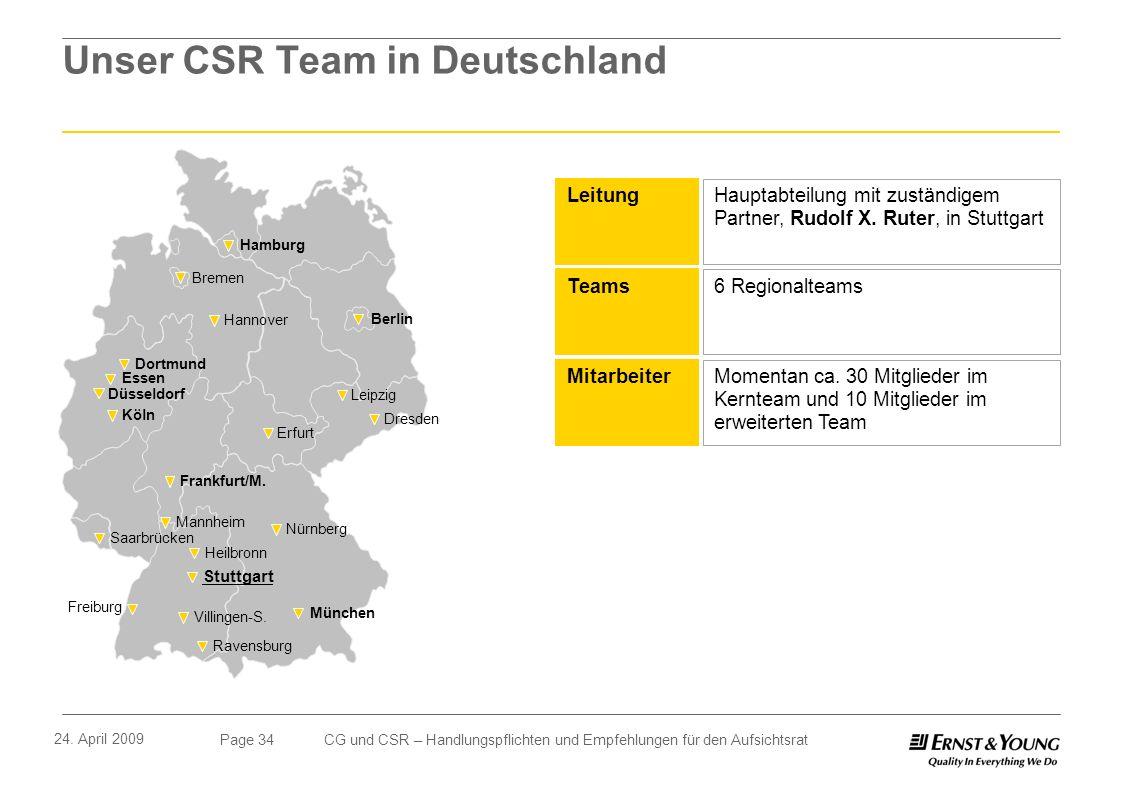 Page 34 24. April 2009 CG und CSR – Handlungspflichten und Empfehlungen für den Aufsichtsrat Unser CSR Team in Deutschland Hamburg Bremen Hannover Ber