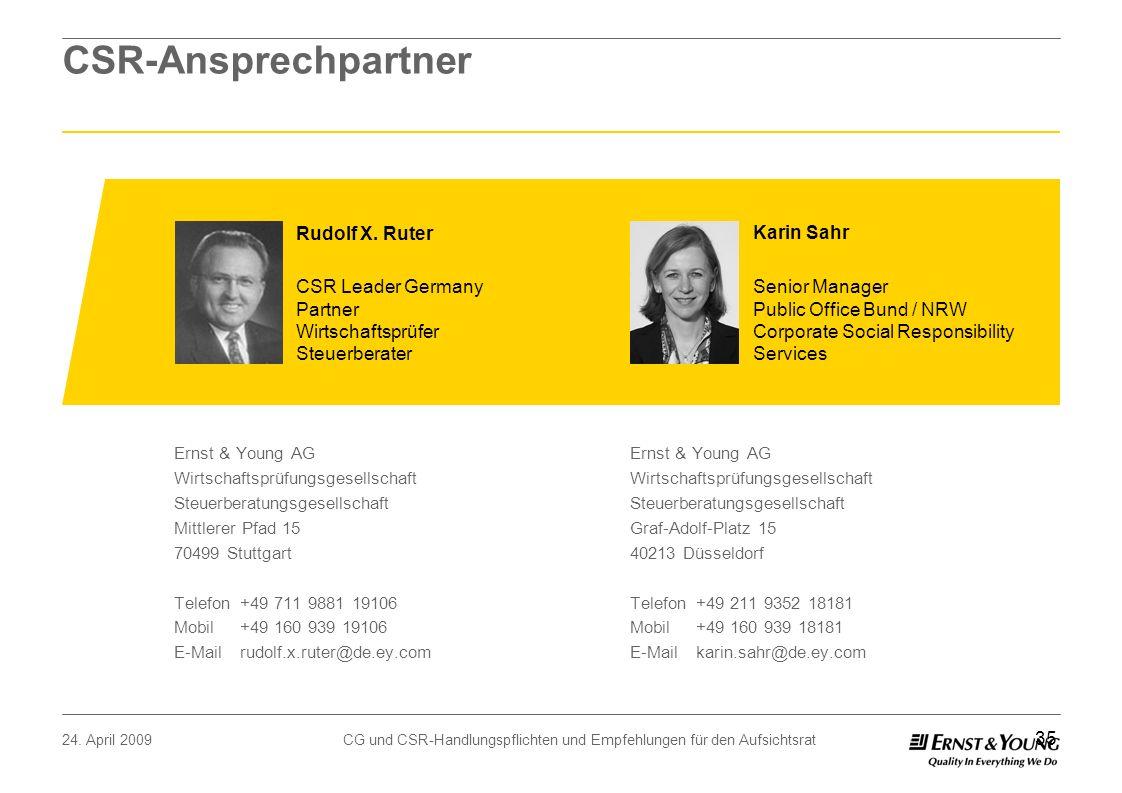 24. April 2009CG und CSR-Handlungspflichten und Empfehlungen für den Aufsichtsrat 35 Karin Sahr Senior Manager Public Office Bund / NRW Corporate Soci