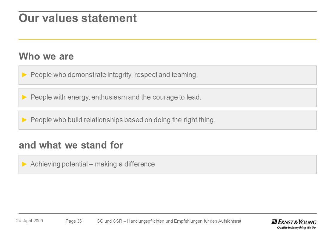Page 36 24. April 2009 CG und CSR – Handlungspflichten und Empfehlungen für den Aufsichtsrat Our values statement People who demonstrate integrity, re