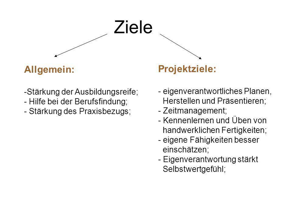 Ziele Allgemein: -Stärkung der Ausbildungsreife; - Hilfe bei der Berufsfindung; - Stärkung des Praxisbezugs; Projektziele: - eigenverantwortliches Pla