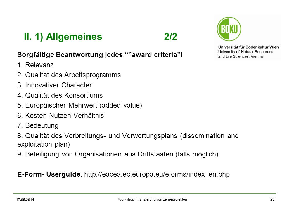 Workshop Finanzierung von Lehreprojekten II.
