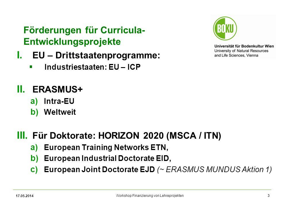Workshop Finanzierung von Lehreprojekten Förderungen für Curricula- Entwicklungsprojekte I.