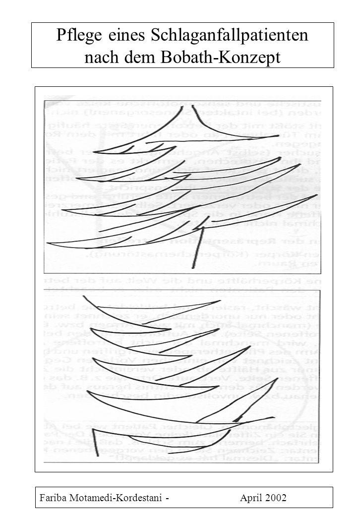 Pflege eines Schlaganfallpatienten nach dem Bobath-Konzept Fariba Motamedi-Kordestani - April 2002 Als Folge der Durchblutungsstörung im Gehirn treten neurologische Ausfälle - Bewußtseinstrübung - Lähmungen - Sensibilitätsstörungen - Verwirrtheit - Gedächtnisverlust - Sprachstörungen auf.