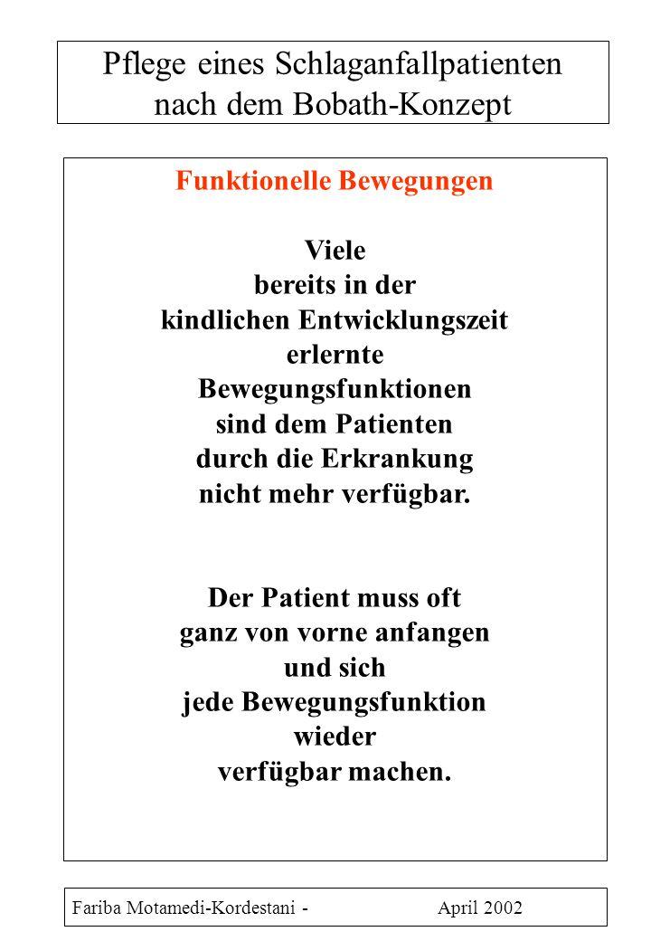 Pflege eines Schlaganfallpatienten nach dem Bobath-Konzept Fariba Motamedi-Kordestani - April 2002 unsichtbare Probleme Körperschemastörung Die betroffene Körperhälfte existiert für den Patienten nicht oder er beachtet sie nicht.