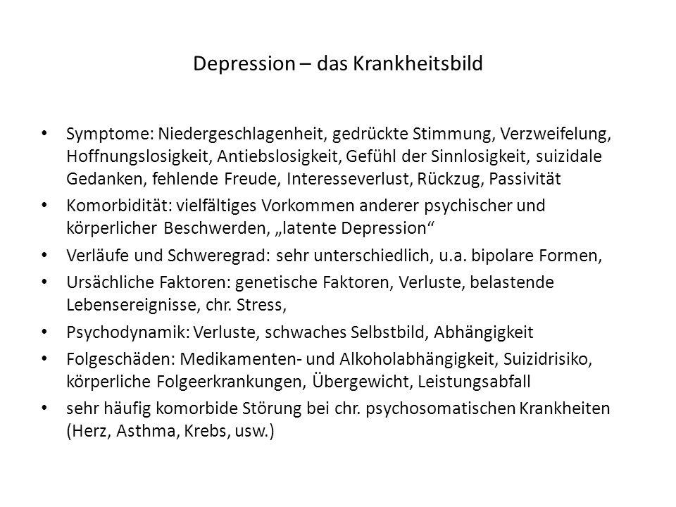 Depression – das Krankheitsbild Symptome: Niedergeschlagenheit, gedrückte Stimmung, Verzweifelung, Hoffnungslosigkeit, Antiebslosigkeit, Gefühl der Si