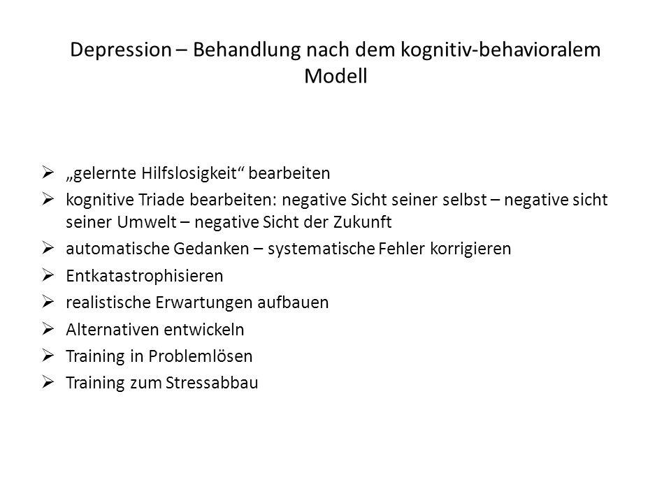 Depression – Behandlung nach dem kognitiv-behavioralem Modell gelernte Hilfslosigkeit bearbeiten kognitive Triade bearbeiten: negative Sicht seiner se