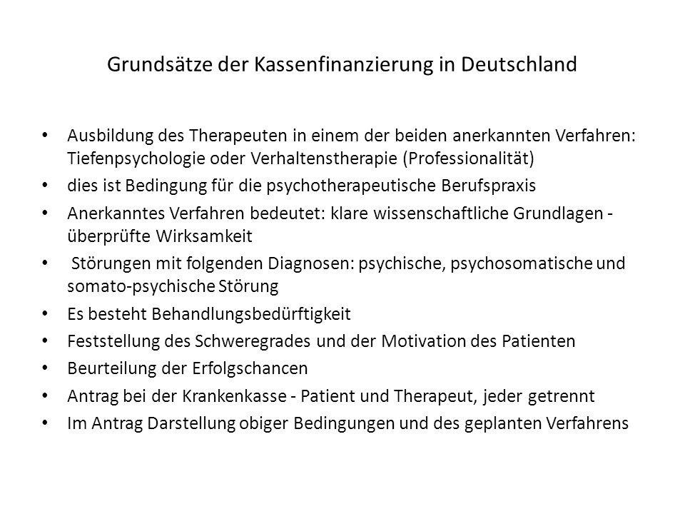Grundsätze der Kassenfinanzierung in Deutschland Ausbildung des Therapeuten in einem der beiden anerkannten Verfahren: Tiefenpsychologie oder Verhalte