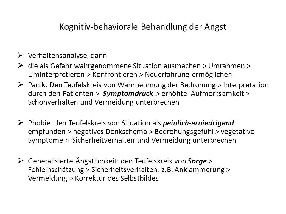 Kognitiv-behaviorale Behandlung der Angst Verhaltensanalyse, dann die als Gefahr wahrgenommene Situation ausmachen > Umrahmen > Uminterpretieren > Kon