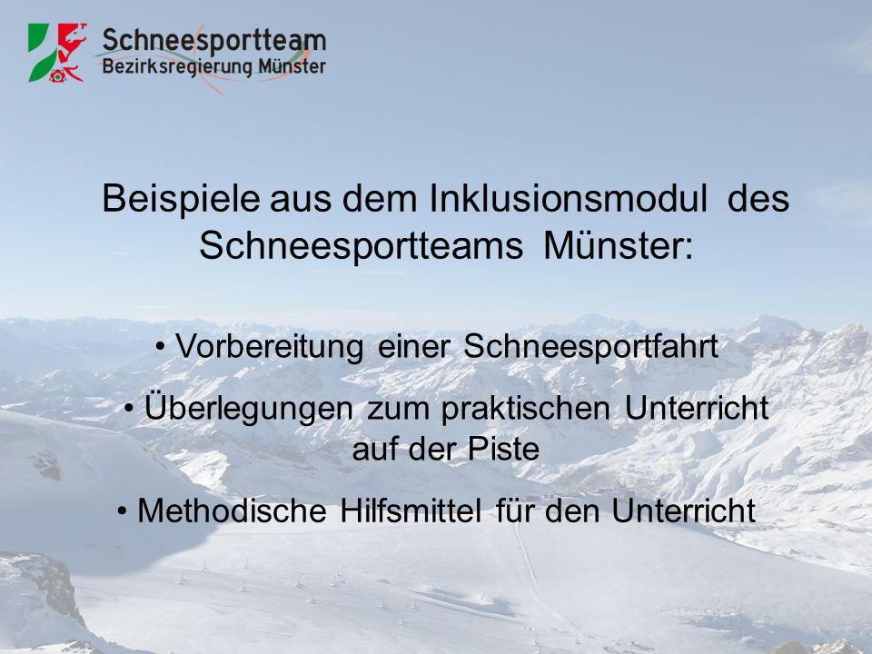 Beispiele aus dem Inklusionsmodul des Schneesportteams Münster: Vorbereitung einer Schneesportfahrt Überlegungen zum praktischen Unterricht auf der Piste Methodische Hilfsmittel für den Unterricht