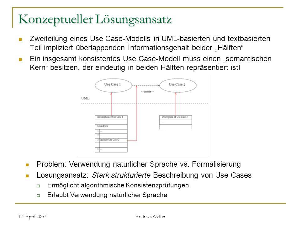 17. April 2007 Andreas Walter Konzeptueller Lösungsansatz Zweiteilung eines Use Case-Modells in UML-basierten und textbasierten Teil impliziert überla