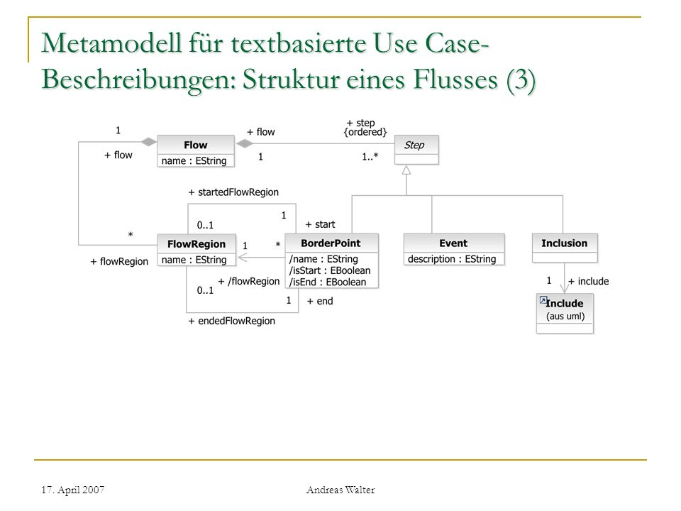 17. April 2007 Andreas Walter Metamodell für textbasierte Use Case- Beschreibungen: Struktur eines Flusses (3)