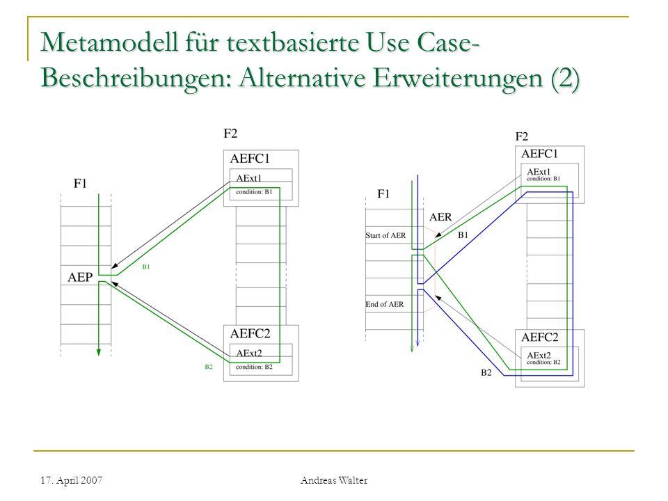 17. April 2007 Andreas Walter Metamodell für textbasierte Use Case- Beschreibungen: Alternative Erweiterungen (2)