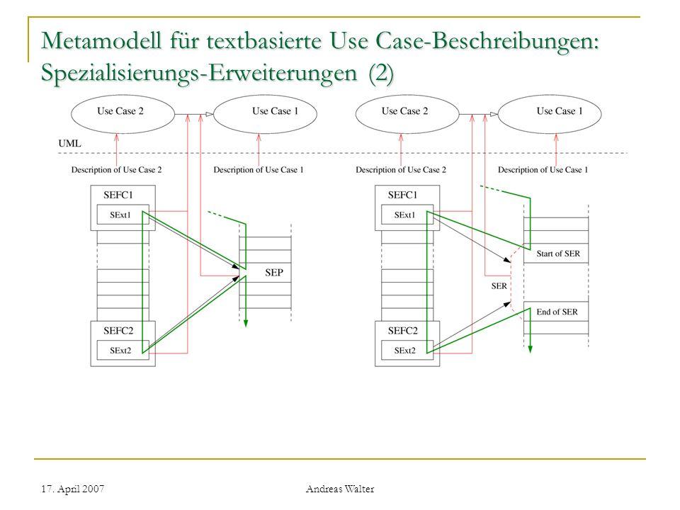 17. April 2007 Andreas Walter Metamodell für textbasierte Use Case-Beschreibungen: Spezialisierungs-Erweiterungen (2)
