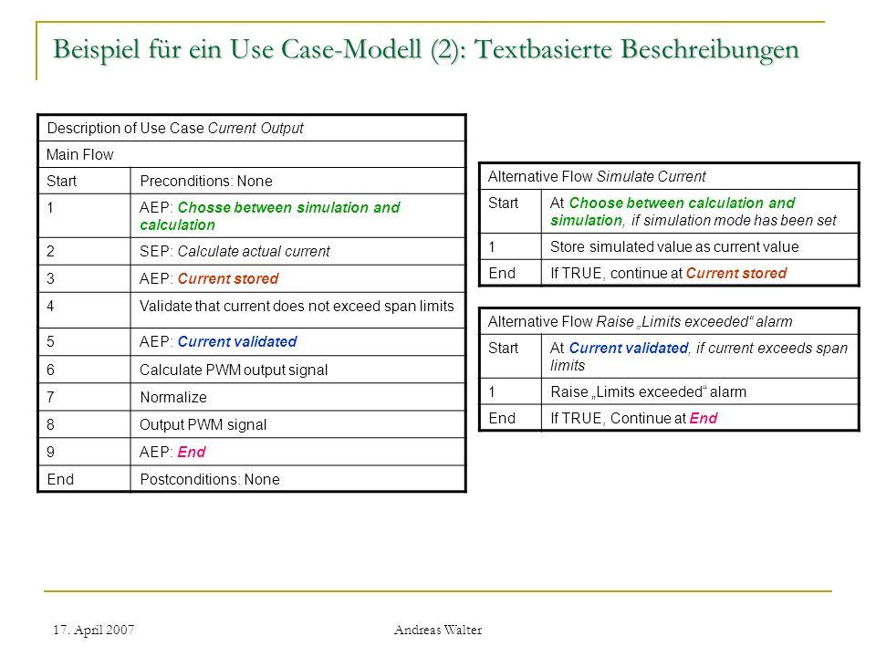 17. April 2007 Andreas Walter Beispiel für ein Use Case-Modell (2): Textbasierte Beschreibungen Alternative Flow Simulate Current StartAt Choose betwe