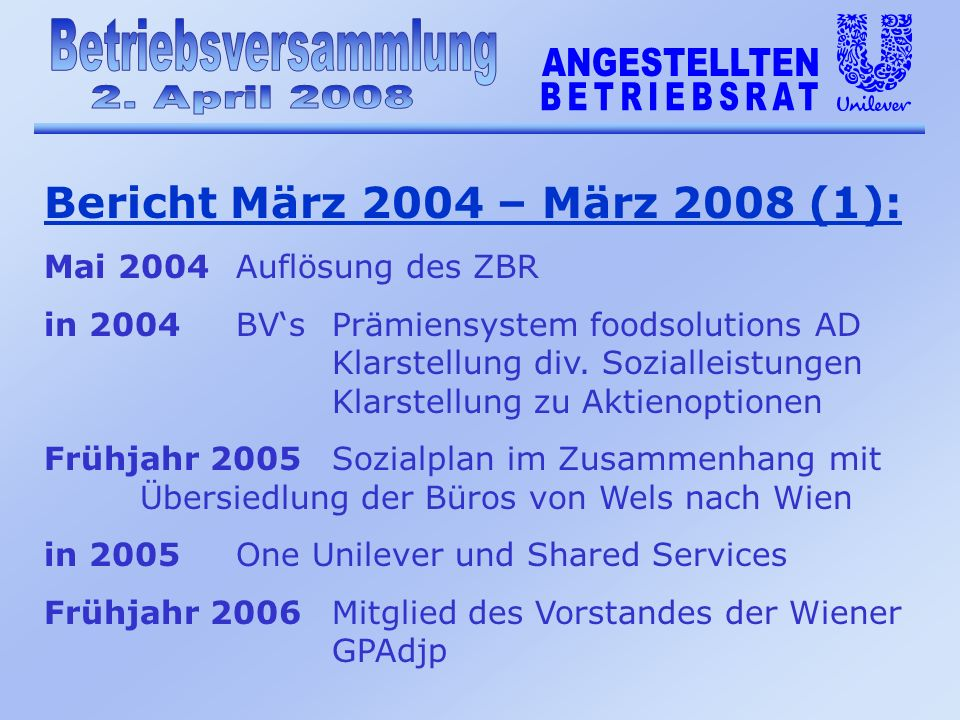 Bericht März 2004 – März 2008 (1): Mai 2004 Auflösung des ZBR in 2004BVsPrämiensystem foodsolutions AD Klarstellung div.