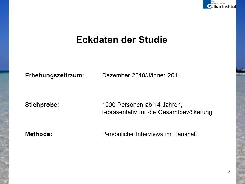 2 Eckdaten der Studie Erhebungszeitraum:Dezember 2010/Jänner 2011 Stichprobe:1000 Personen ab 14 Jahren, repräsentativ für die Gesamtbevölkerung Metho