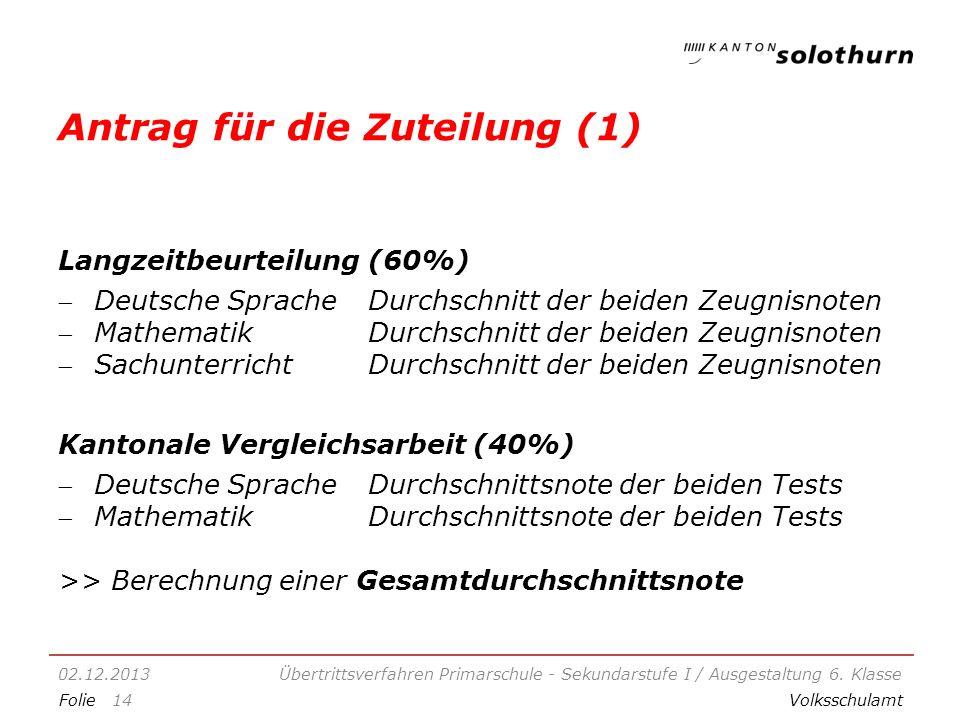 FolieVolksschulamt Antrag für die Zuteilung (1) Langzeitbeurteilung (60%) Deutsche Sprache Durchschnitt der beiden Zeugnisnoten MathematikDurchschnitt der beiden Zeugnisnoten SachunterrichtDurchschnitt der beiden Zeugnisnoten Kantonale Vergleichsarbeit (40%) Deutsche SpracheDurchschnittsnote der beiden Tests MathematikDurchschnittsnote der beiden Tests >> Berechnung einer Gesamtdurchschnittsnote 02.12.2013Übertrittsverfahren Primarschule - Sekundarstufe I / Ausgestaltung 6.