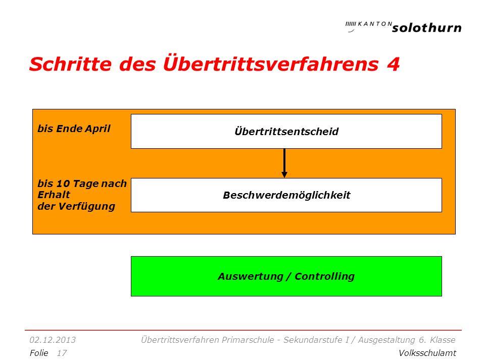 FolieVolksschulamt Schritte des Übertrittsverfahrens 4 02.12.2013Übertrittsverfahren Primarschule - Sekundarstufe I / Ausgestaltung 6.