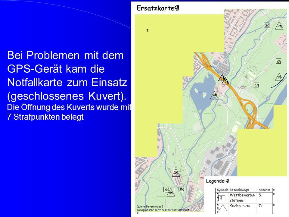 Bei Problemen mit dem GPS-Gerät kam die Notfallkarte zum Einsatz (geschlossenes Kuvert). Die Öffnung des Kuverts wurde mit 7 Strafpunkten belegt