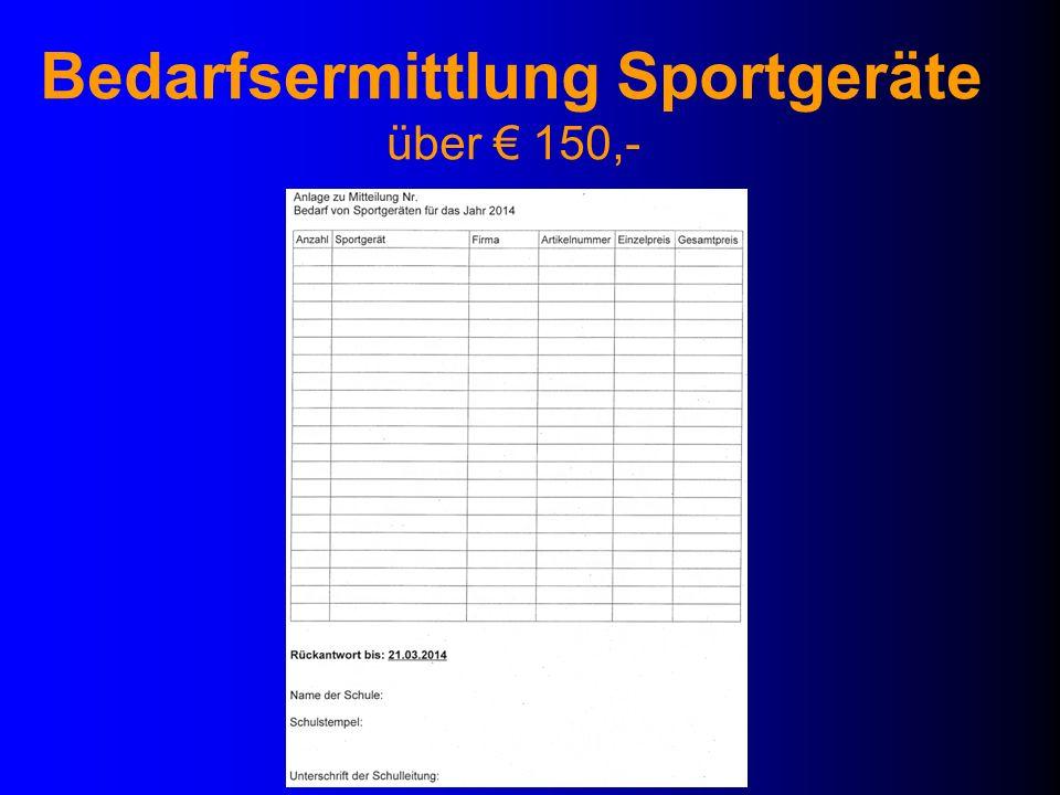 Bedarfsermittlung Sportgeräte über 150,-