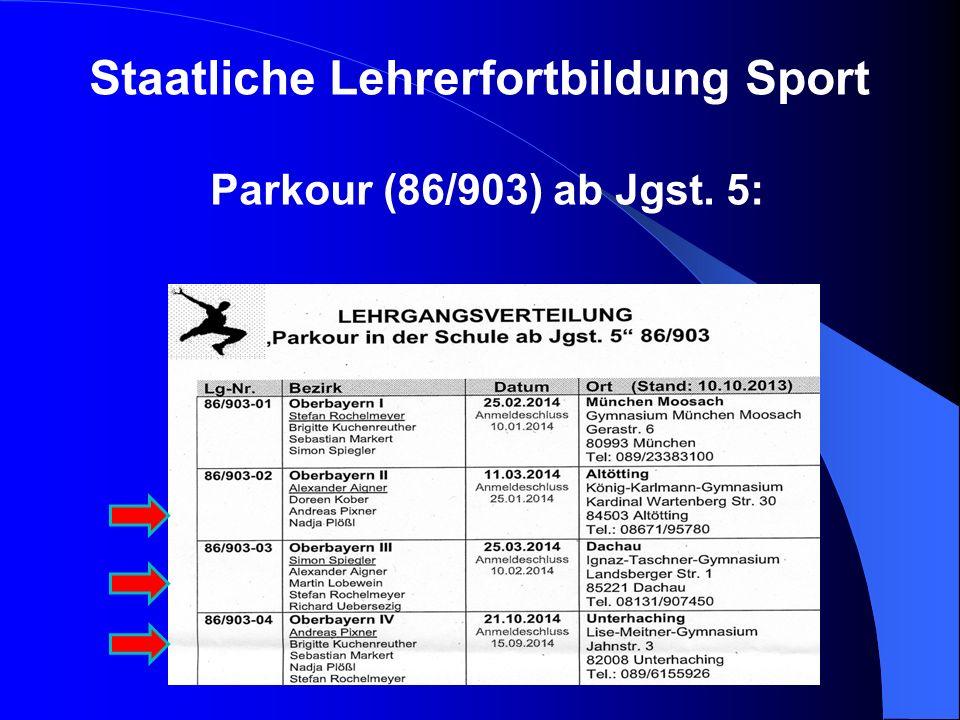 Staatliche Lehrerfortbildung Sport Parkour (86/903) ab Jgst. 5:
