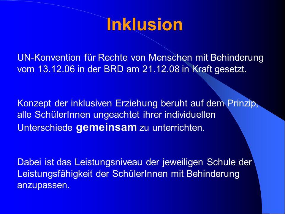 Inklusion UN-Konvention für Rechte von Menschen mit Behinderung vom 13.12.06 in der BRD am 21.12.08 in Kraft gesetzt. Konzept der inklusiven Erziehung